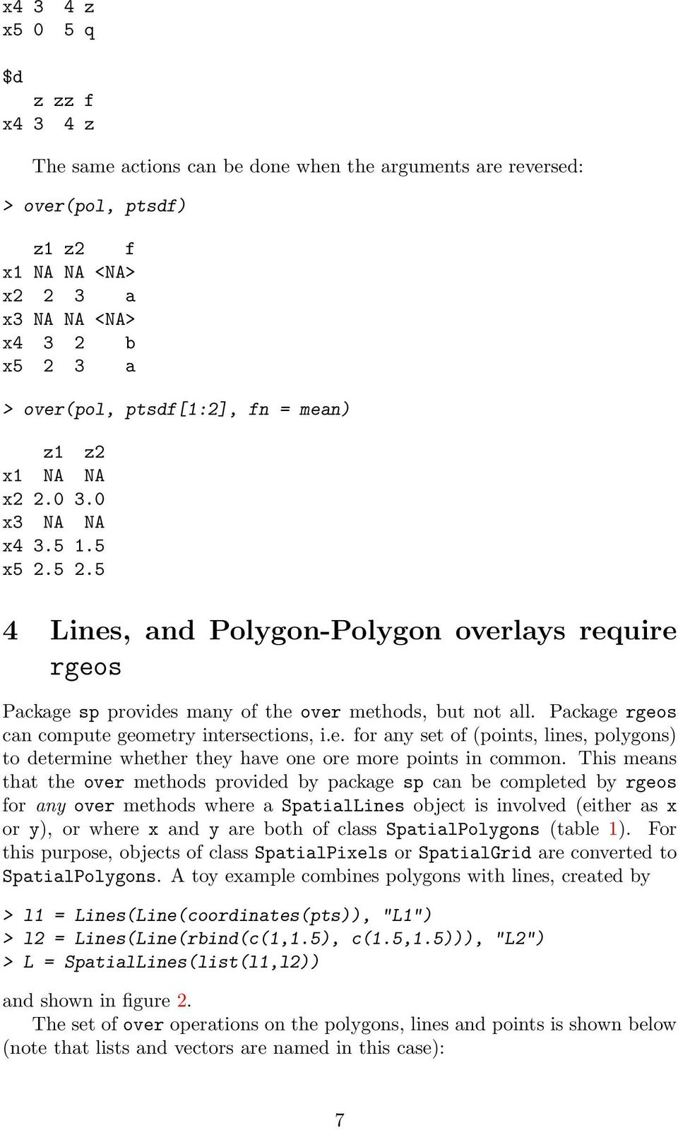 Package rgeos can compute geometry intersections, i.e. for any set of (points, lines, polygons) to determine whether they have one ore more points in common.