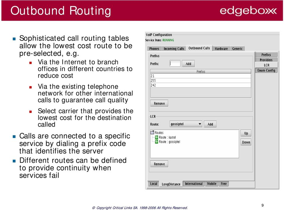 tables allow the lowest cost route to be pre-selected, e.g.