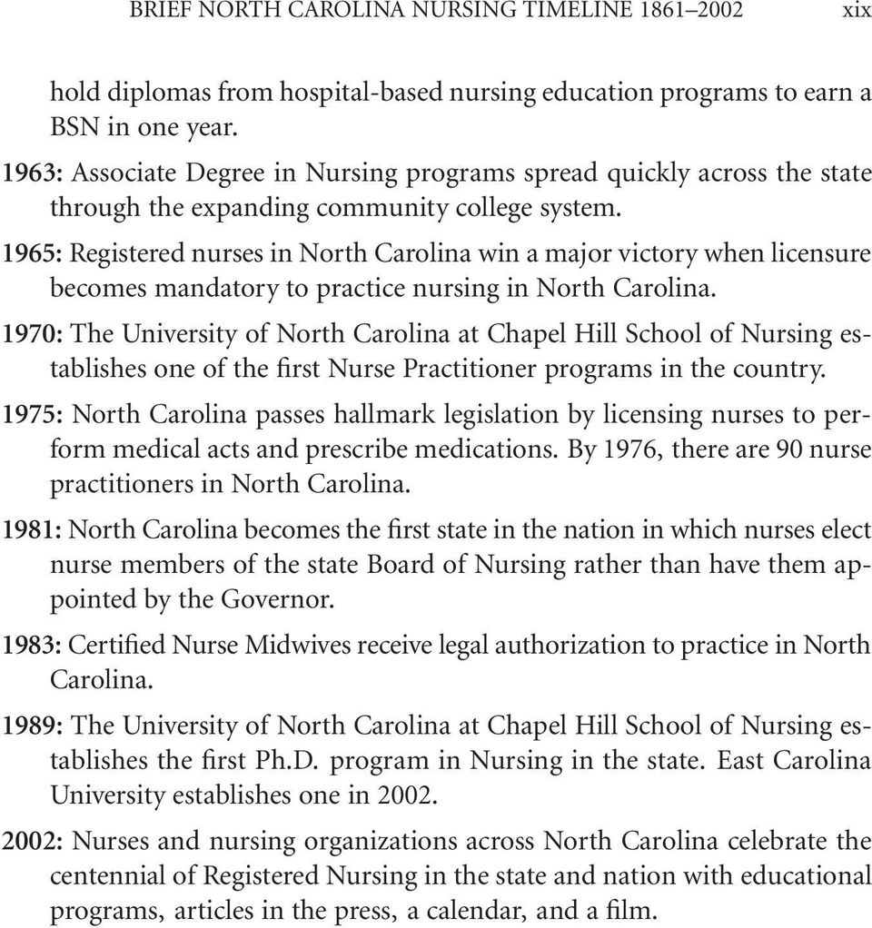 1965: Registered nurses in North Carolina win a major victory when licensure becomes mandatory to practice nursing in North Carolina.