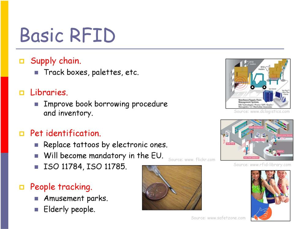 Replace tattoos by electronic ones. Will become mandatory in the EU. ISO 11784, ISO 11785.
