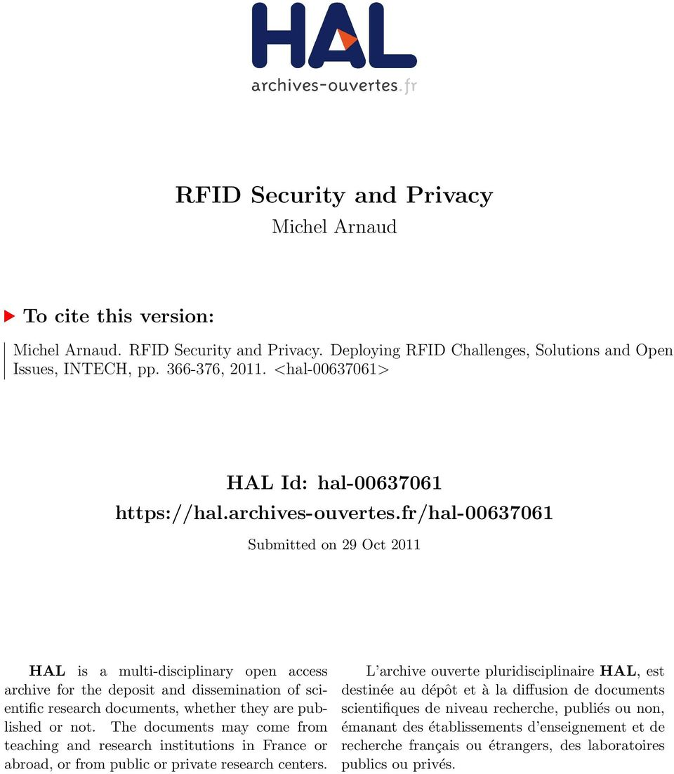 fr/hal-00637061 Submitted on 29 Oct 2011 HAL is a multi-disciplinary open access archive for the deposit and dissemination of scientific research documents, whether they are published or not.