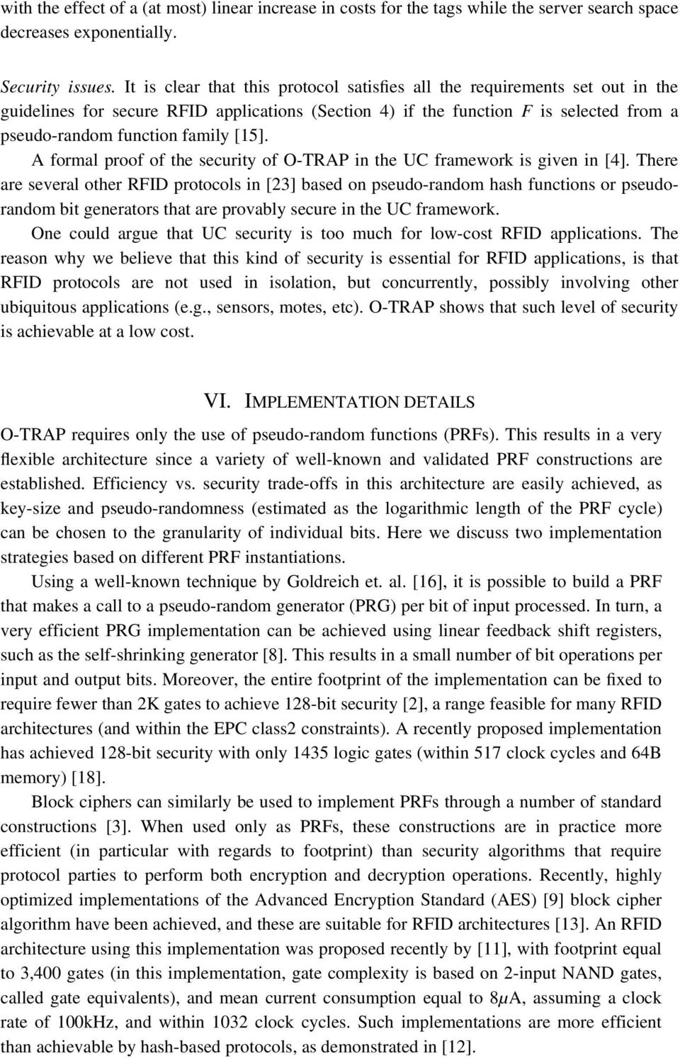 [15]. A formal proof of the security of O-TRAP in the UC framework is given in [4].