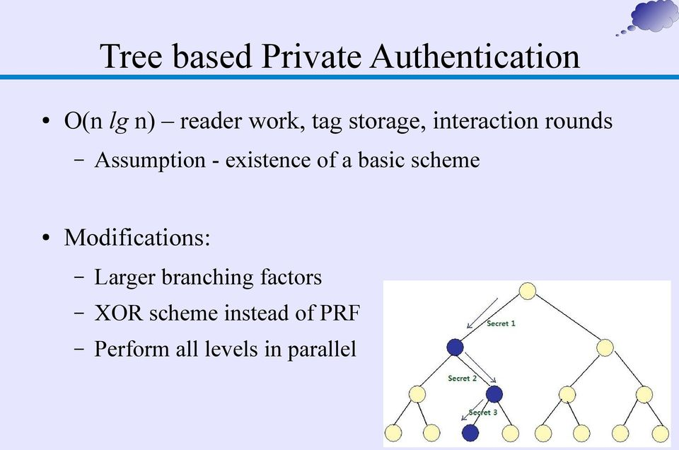 of a basic scheme Modifications: Larger branching