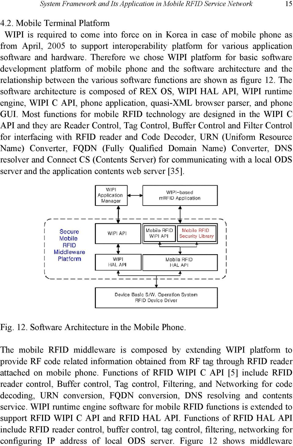 Therefore we chose WIPI platform for basic software development platform of mobile phone and the software architecture and the relationship between the various software functions are shown as figure