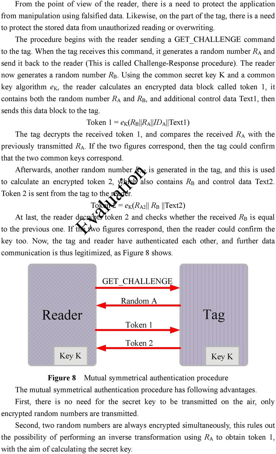 When the tag receives this command, it generates a random number R A and send it back to the reader (This is called Challenge-Response procedure). The reader now generates a random number R B.
