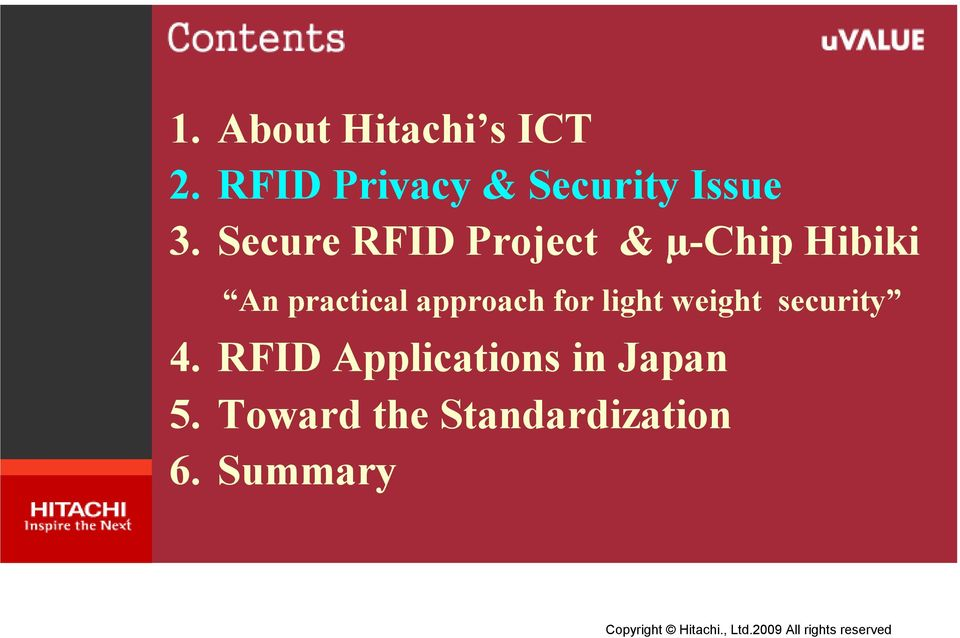 Secure RFID Project & µ-chip Hibiki An practical