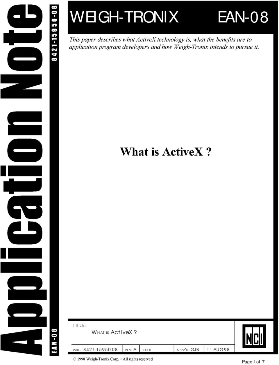 intends to pursue it. What is ActiveX? TITLE: WHAT IS ActiveX?