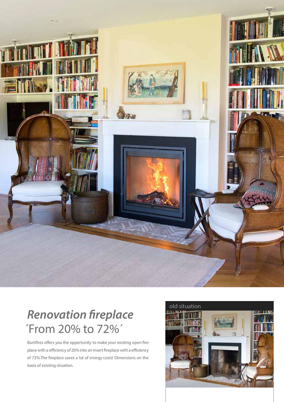 of 20% into an insert fireplace with a efficiency of 72%.