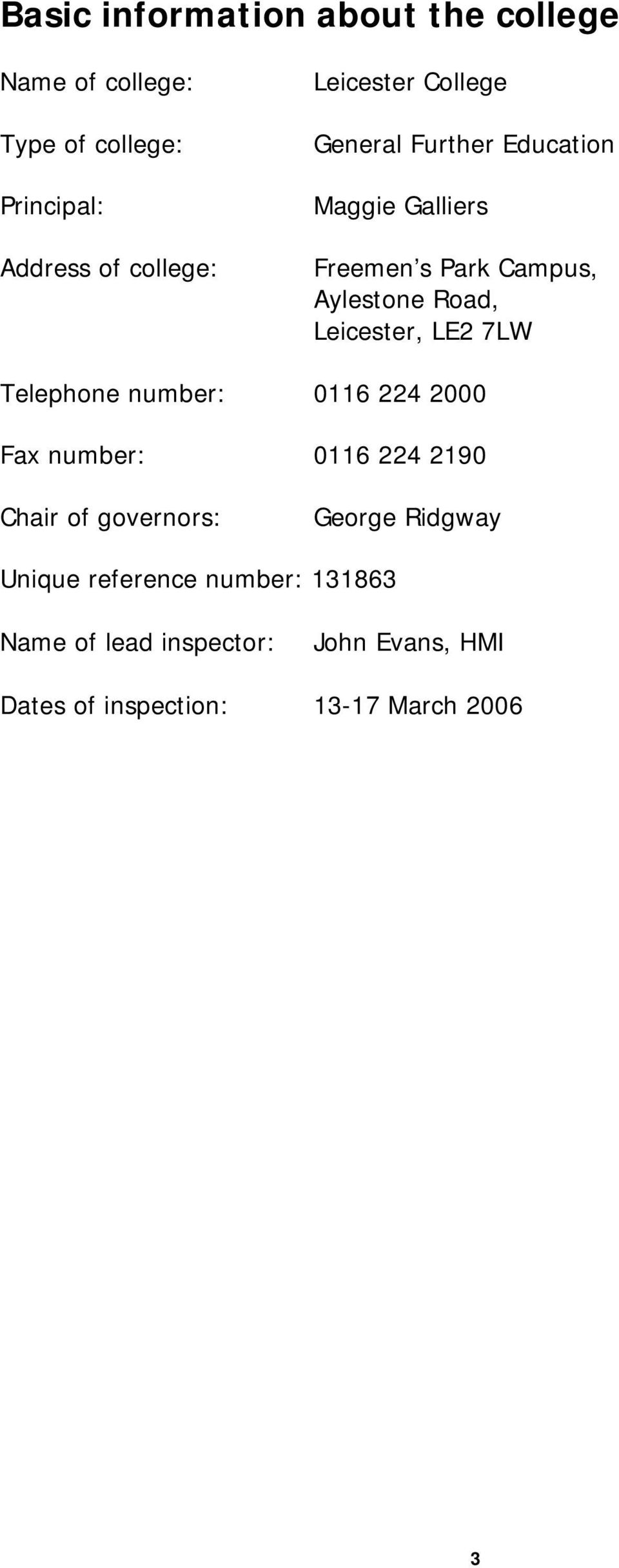 Telephone number: 0116 224 2000 Fax number: 0116 224 2190 Chair of governors: George Ridgway Unique