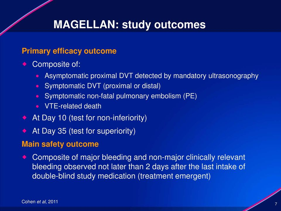 non-inferiority) At Day 35 (test for superiority) Main safety outcome Composite of major bleeding and non-major clinically
