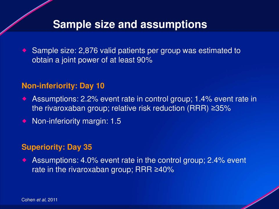 4% event rate in the rivaroxaban group; relative risk reduction (RRR) 35% Non-inferiority margin: 1.
