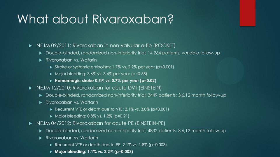 02) NEJM 12/2010: Rivaroxaban for acute DVT (EINSTEIN) Double-blinded, randomized non-inferiority trial; 3449 patients; 3,6,12 month follow-up Rivaroxaban vs.