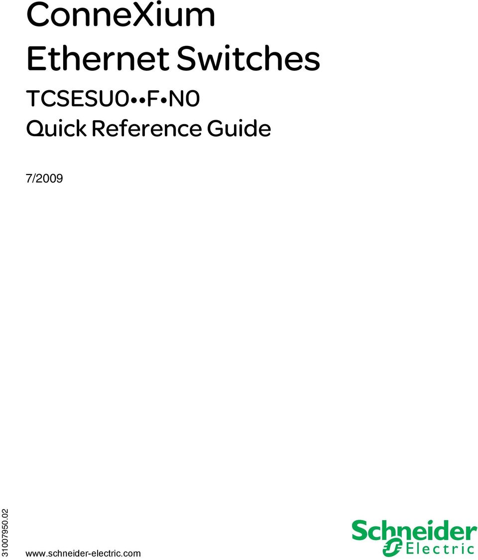 Quick Reference Guide 7/2009