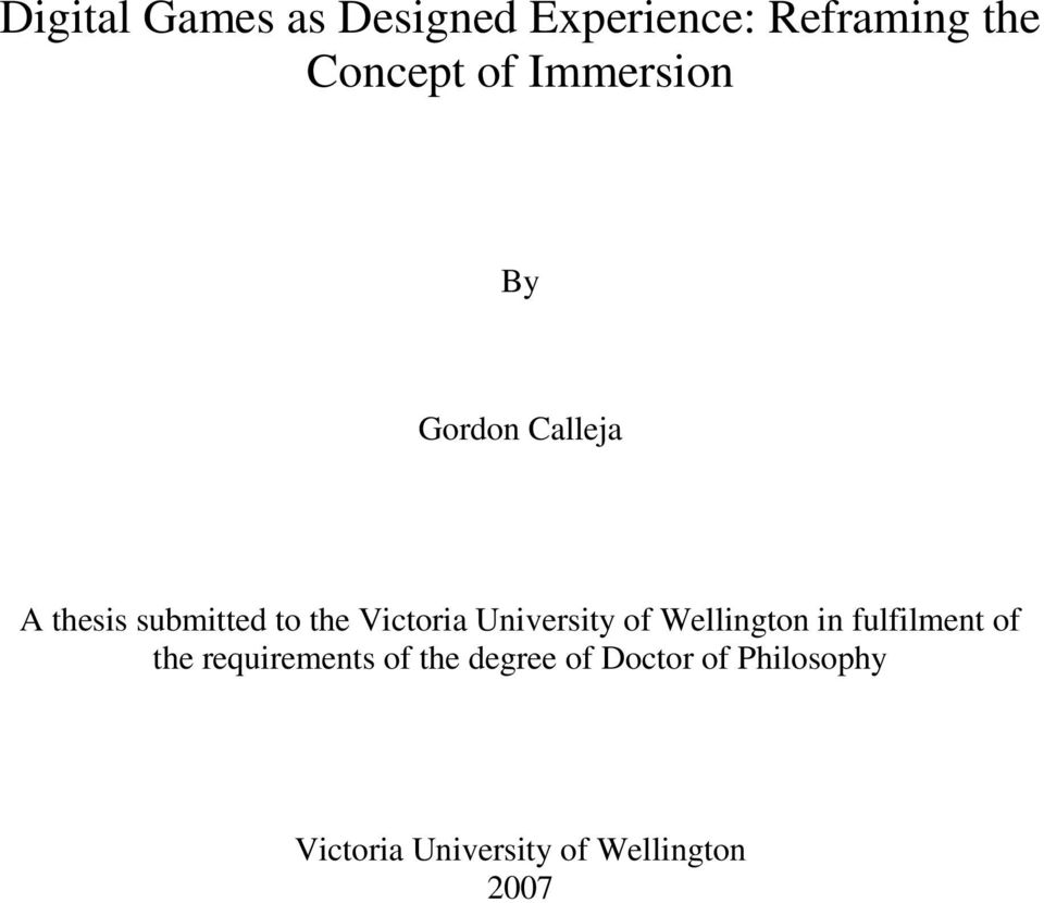University of Wellington in fulfilment of the requirements of the