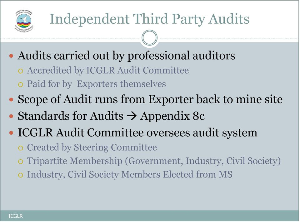 Standards for Audits Appendix 8c Audit Committee oversees audit system Created by Steering