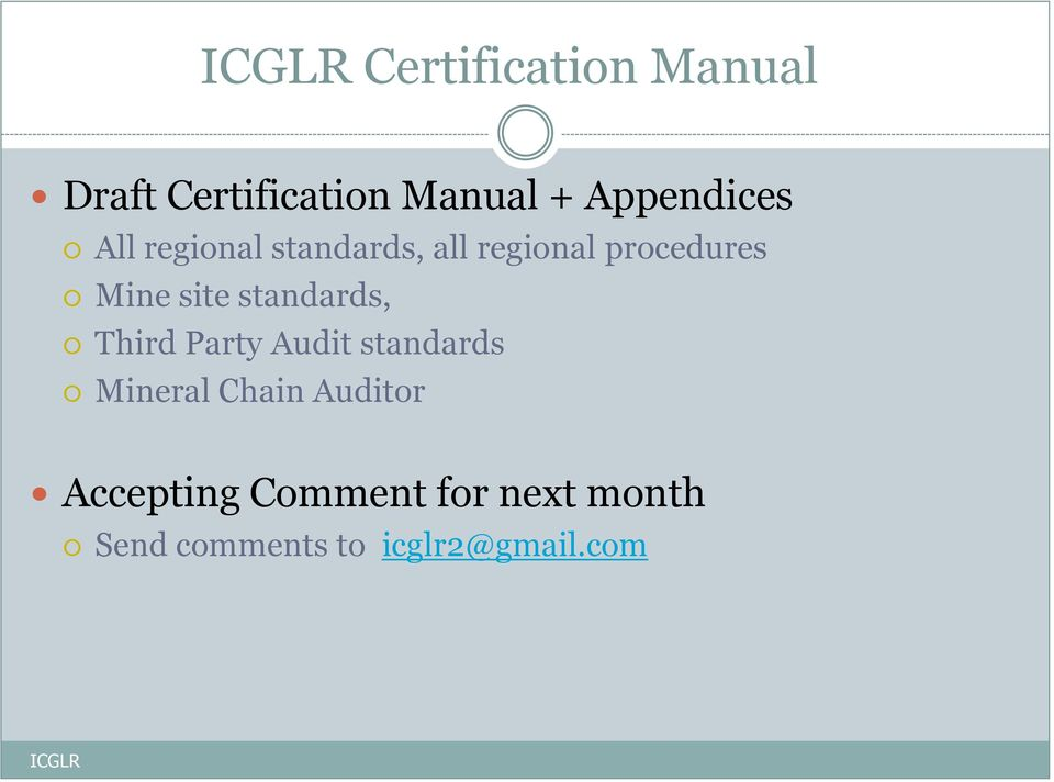 standards, Third Party Audit standards Mineral Chain Auditor