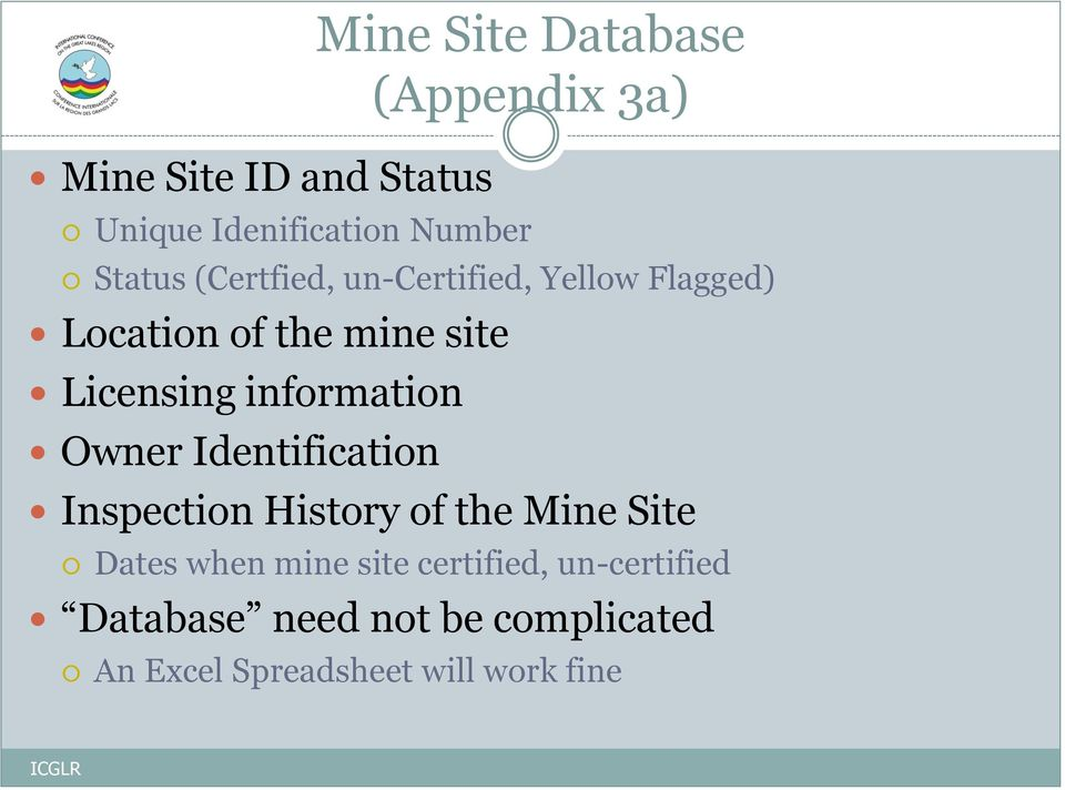information Owner Identification Inspection History of the Mine Site Dates when mine