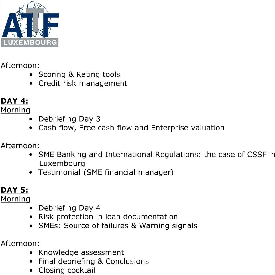 Testimonial (SME financial manager) DAY 5: Debriefing Day 4 Risk protection in loan documentation
