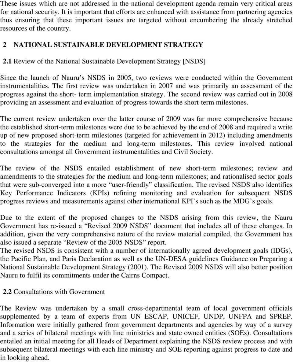 country. 2 NATIONAL SUSTAINABLE DEVELOPMENT STRATEGY 2.