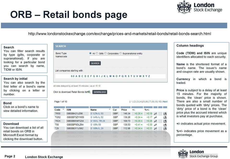 Search by initial You can also search by the first letter of a bond s name by clicking on a letter or number. Bond Click on a bond s name to view detailed information.