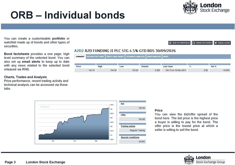 You can also set up email alerts to keep up to date with any news related to the selected bond released via RNS.