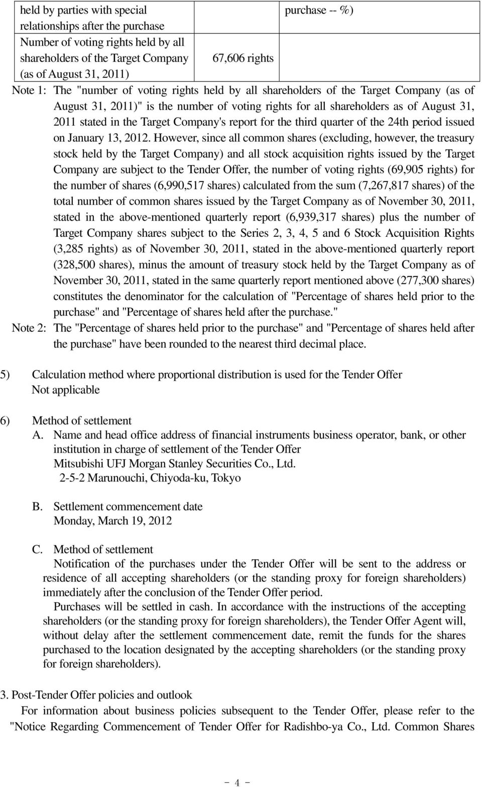 for the third quarter of the 24th period issued on January 13, 2012.