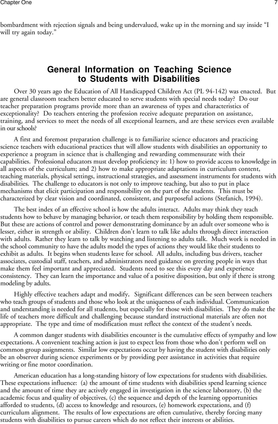 But are general classroom teachers better educated to serve students with special needs today?