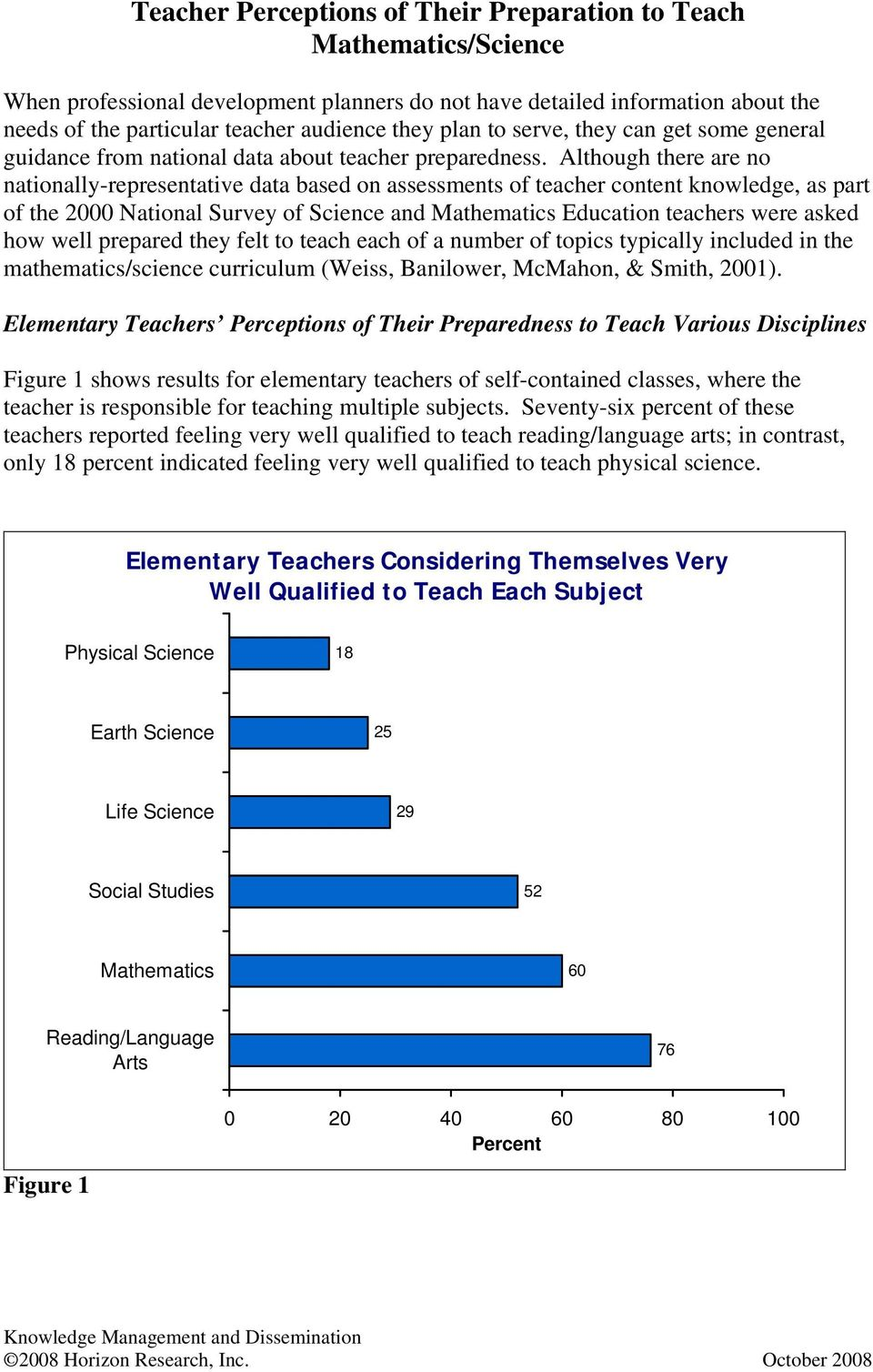 Although there are no nationally-representative data based on assessments of teacher content knowledge, as part of the 2000 National Survey of Science and Mathematics Education teachers were asked