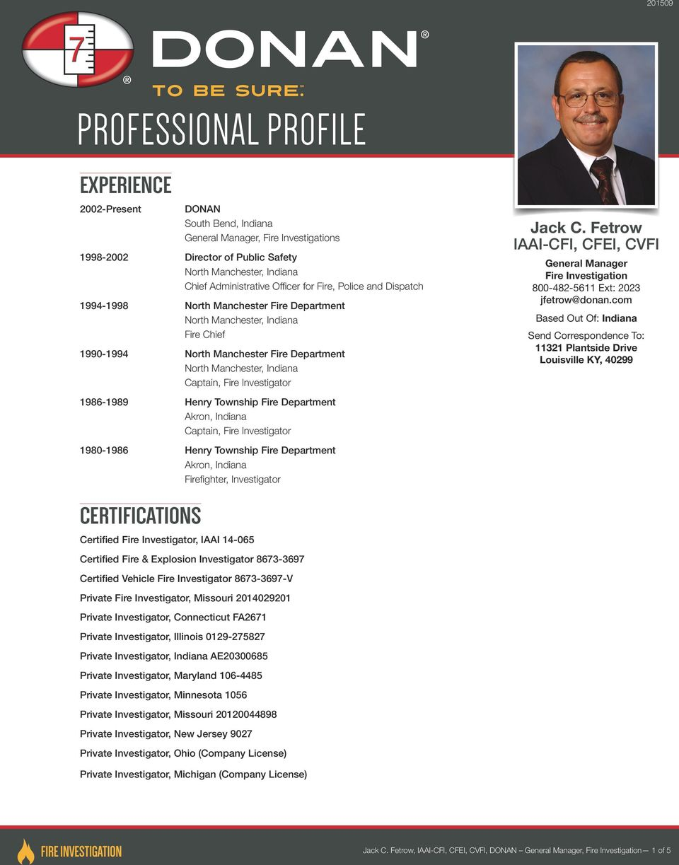 Professional Profile Experience Certifications Certified Fire