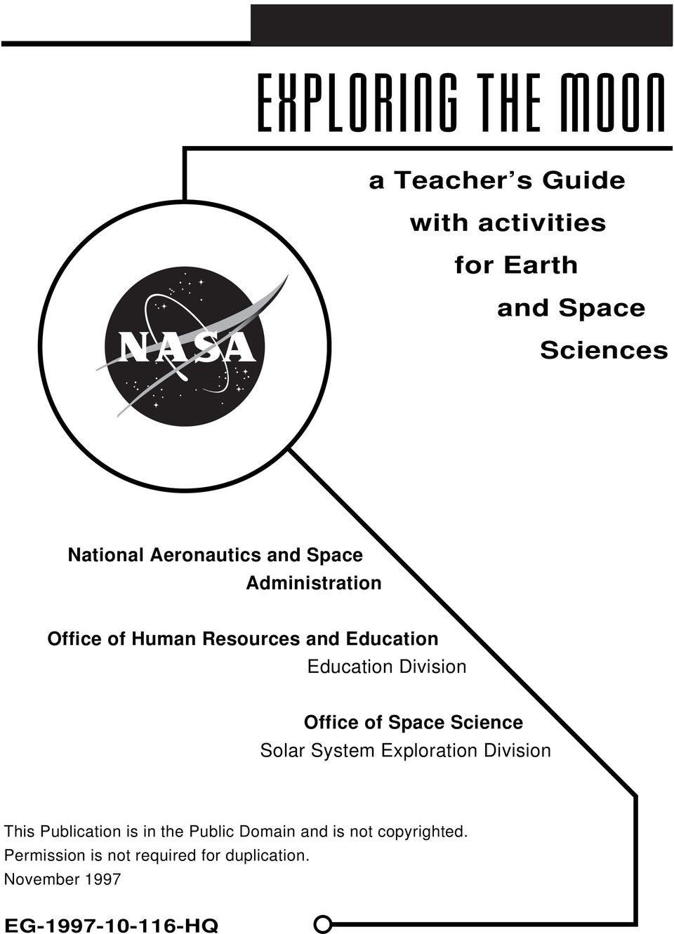 Space Science Solar System Exploration Division This Publication is in the Public Domain