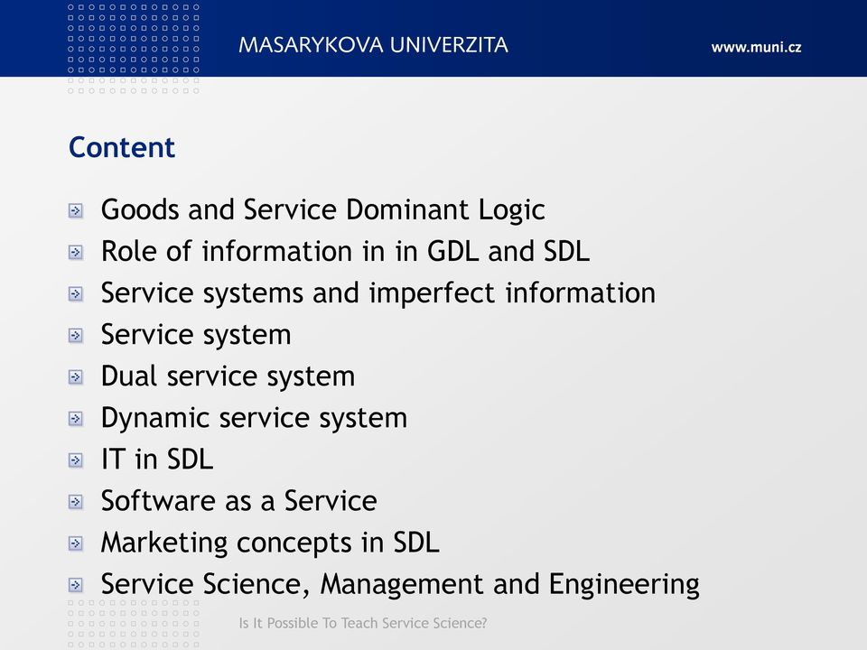 Dual service system Dynamic service system IT in SDL Software as a