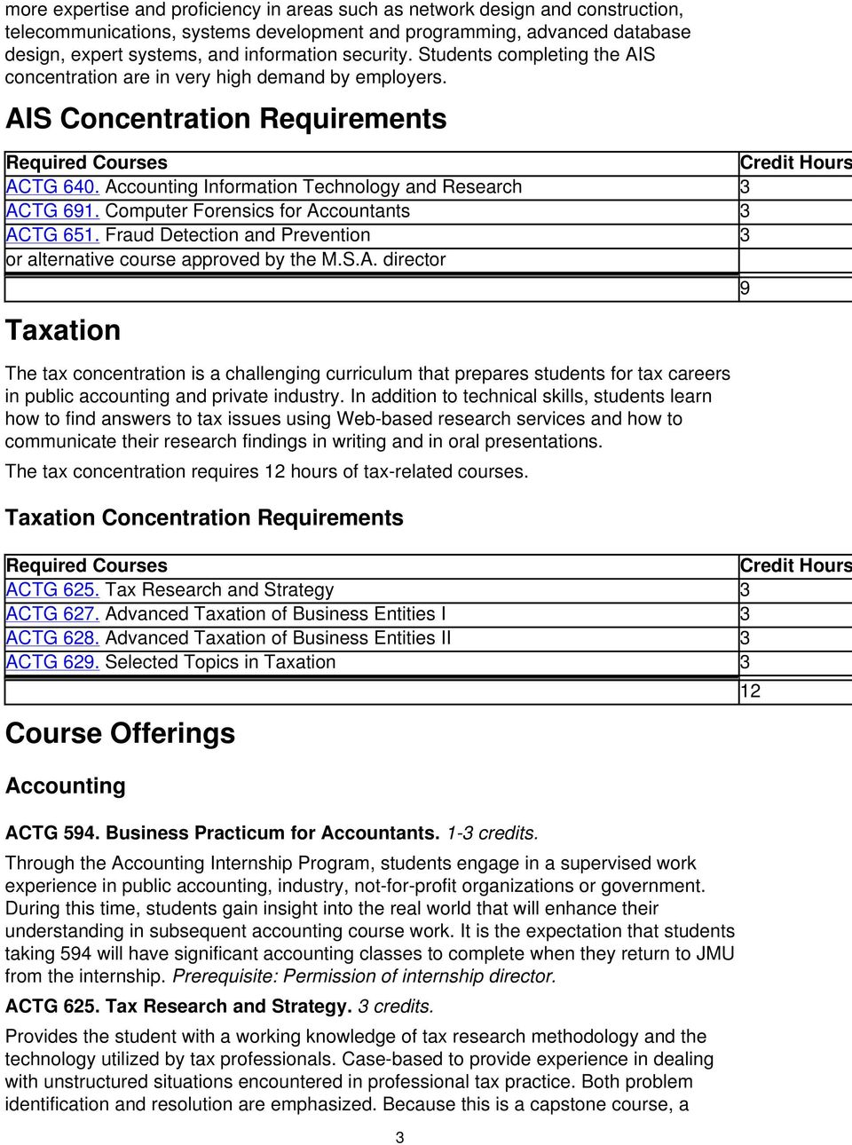 Accounting Information Technology and Research 3 ACTG 691. Computer Forensics for Accountants 3 ACTG 651. Fraud Detection and Prevention 3 or alternative course approved by the M.S.A. director Taxation The tax concentration is a challenging curriculum that prepares students for tax careers in public accounting and private industry.