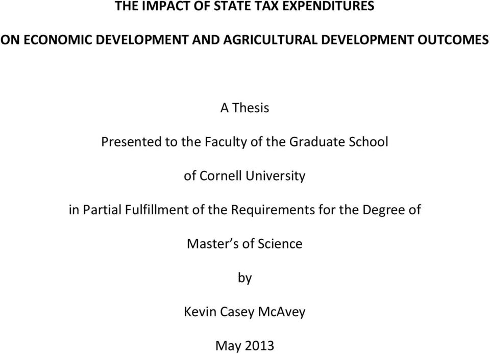 the Graduate School of Cornell University in Partial Fulfillment of the