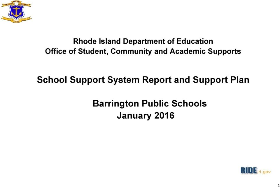School Support System Report and Support