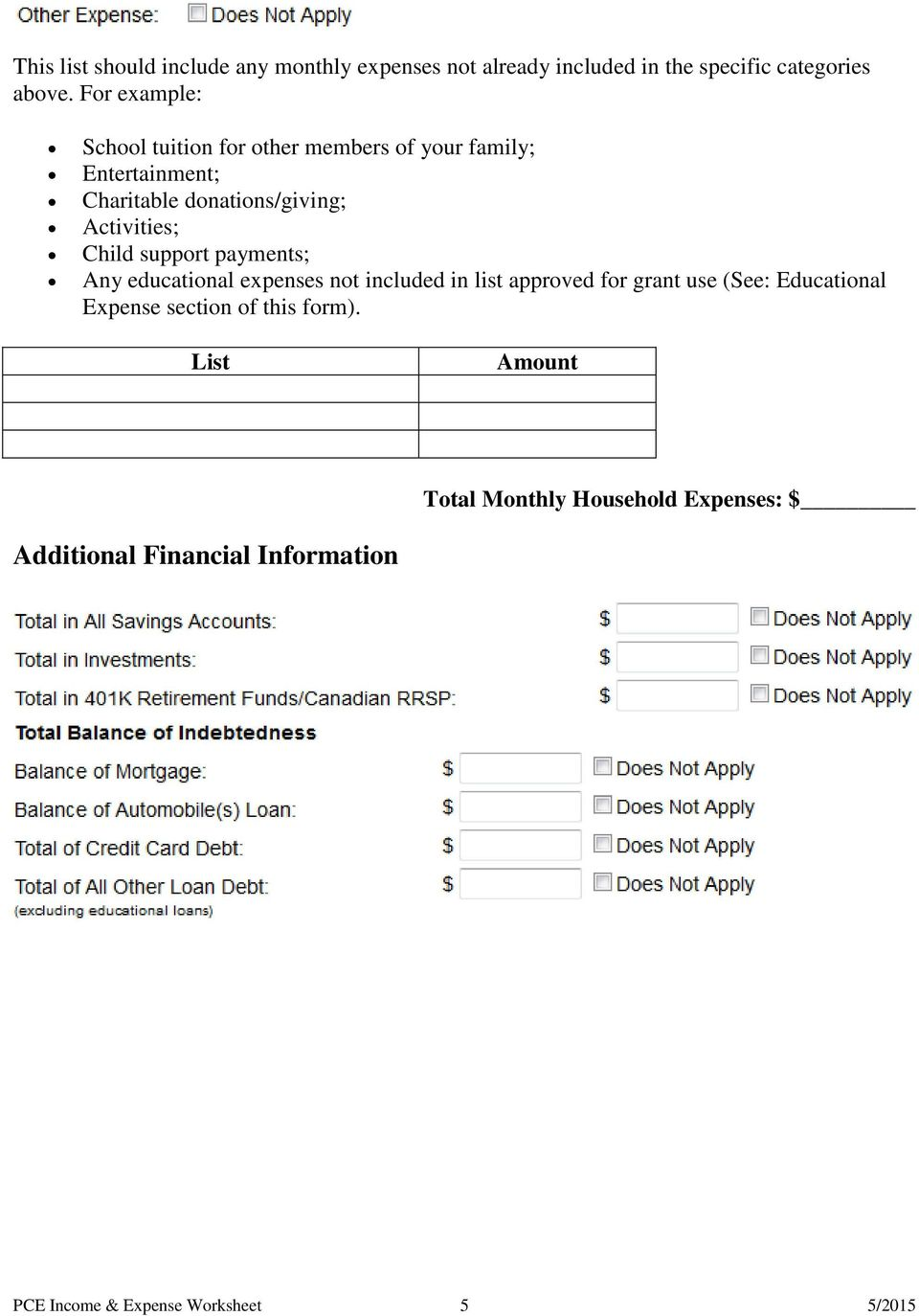worksheet Adjusted Qualified Education Expenses Worksheet pce pre application income and expense worksheet pdf child support payments any educational expenses not included in list approved for grant use