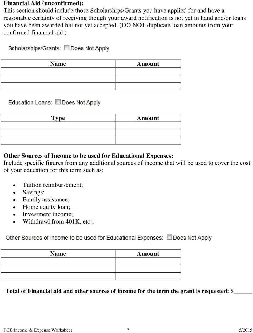 PCE PreApplication Income and Expense Worksheet PDF – Income Worksheet