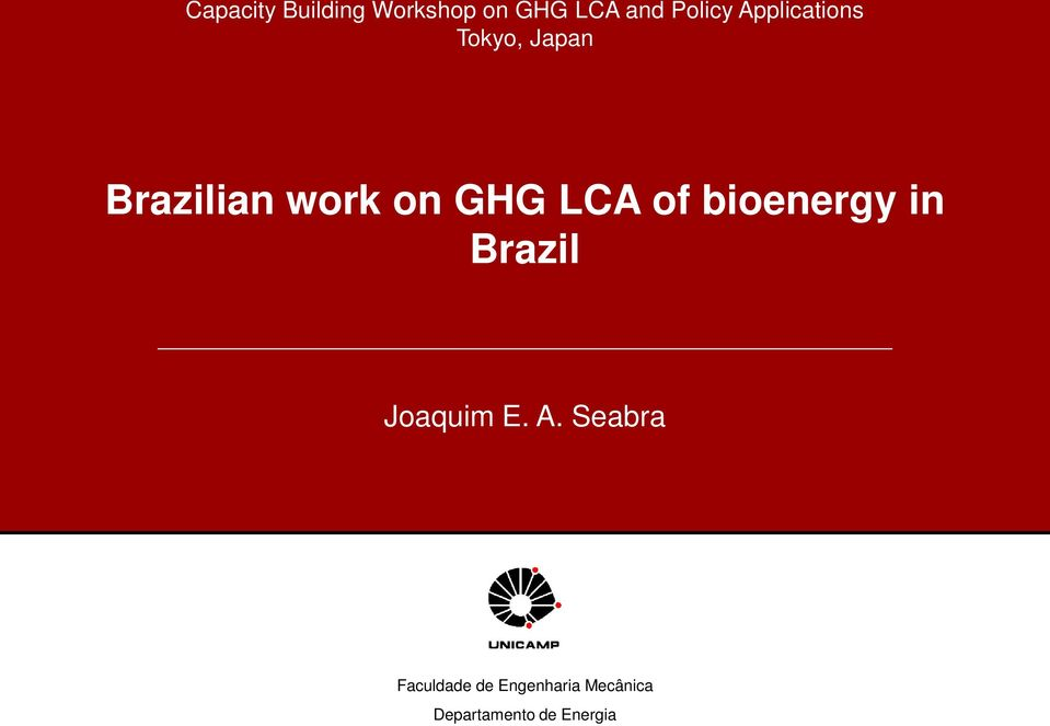 LCA of bioenergy in Brazil Joaquim E. A.