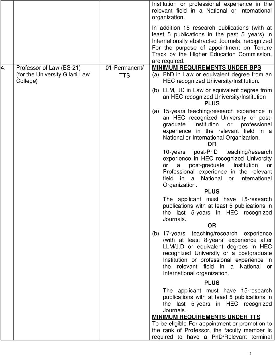 Education Commission, are required. MINIMUM REQUIREMENTS UNDER BPS (a) PhD in Law or equivalent degree from an HEC recognized University/Institution.