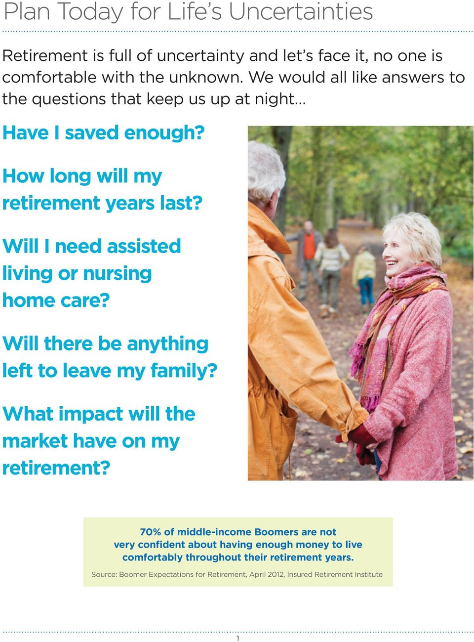 Will I need assisted living or nursing home care? Will there be anything left to leave my family? What impact will the market have on my retirement?