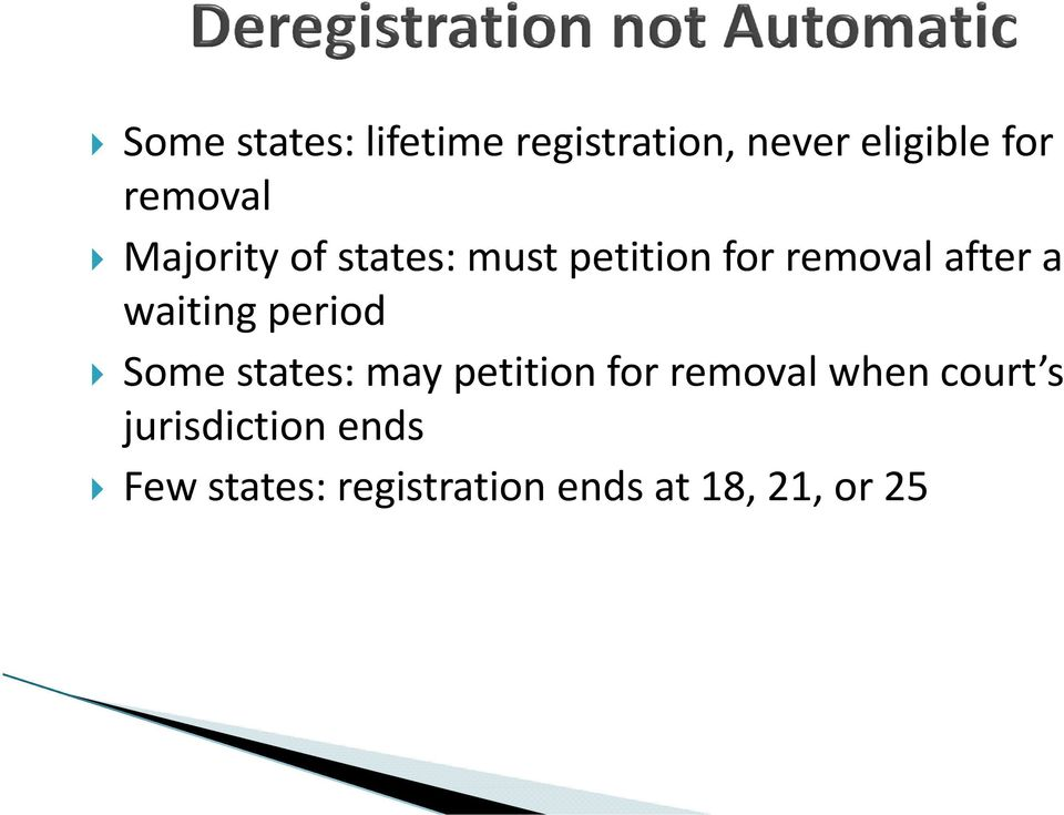 waiting period Some states: may petition for removal when