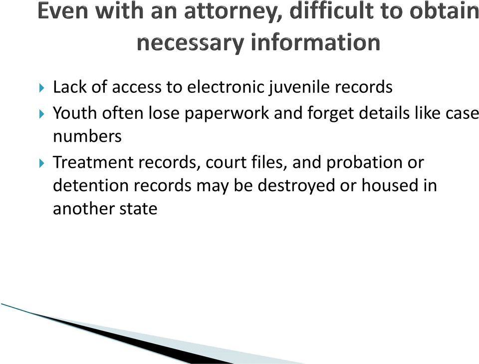 numbers Treatment records, court files, and probation