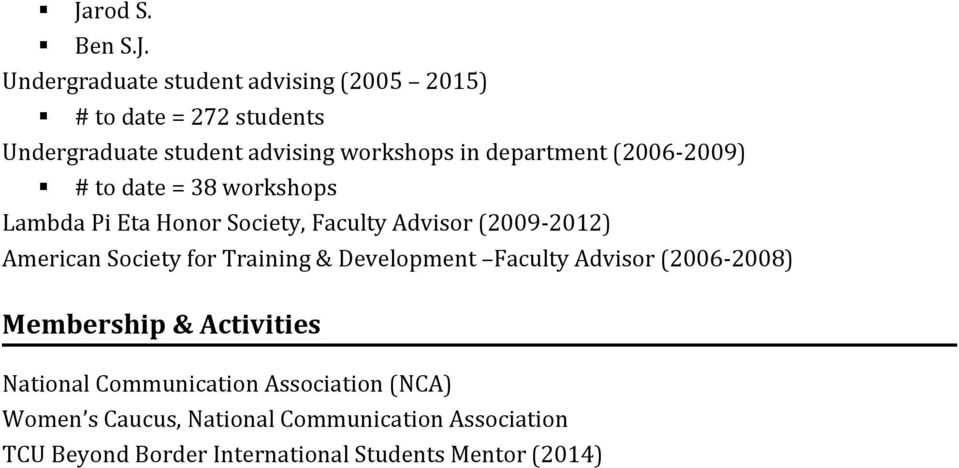 American Society for Training & Development Faculty Advisor (2006-2008) Membership & Activities National Communication