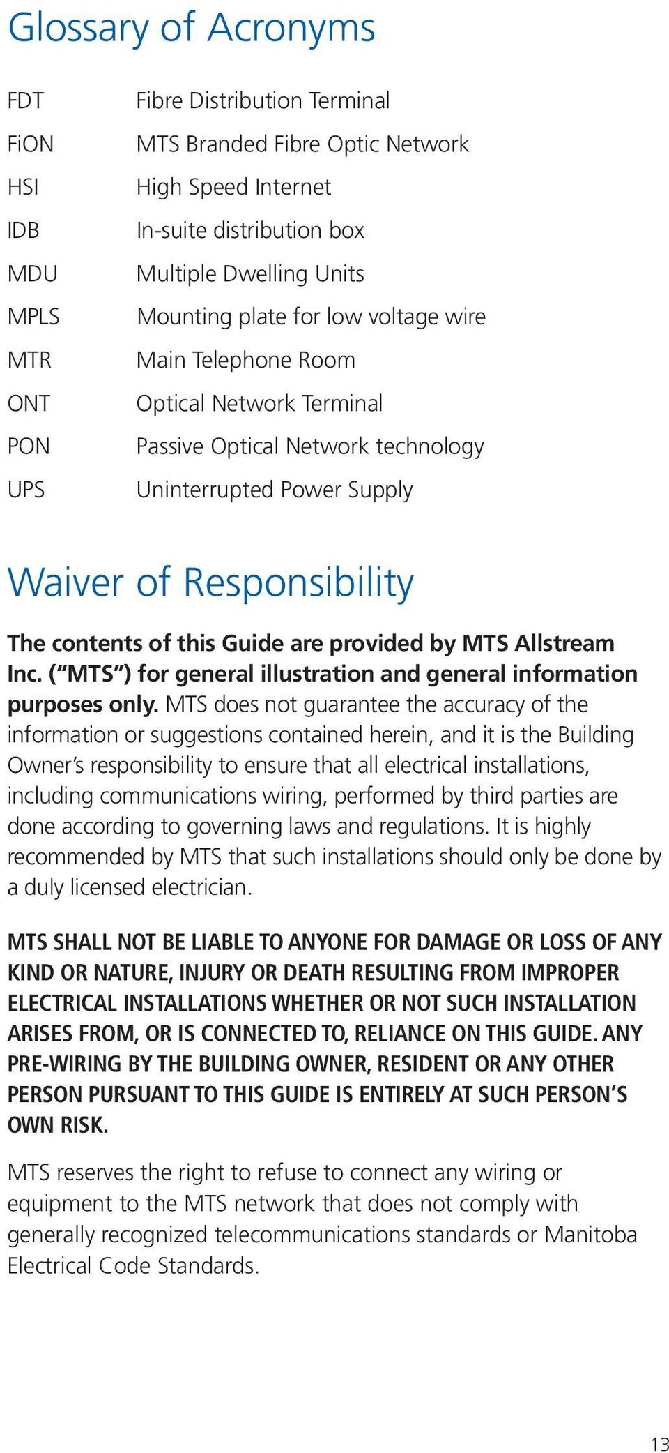 Fibre Optic Wiring Guide For Multiple Dwelling Units Mdus Pdf Low Voltage Provided By Mts Allstream Inc General Illustration And Information Purposes