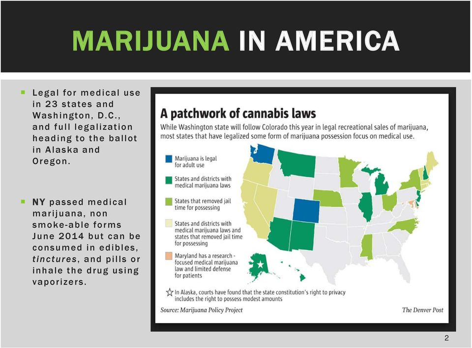 NY passed medical marijuana, non smoke-able forms June 2014 but can be