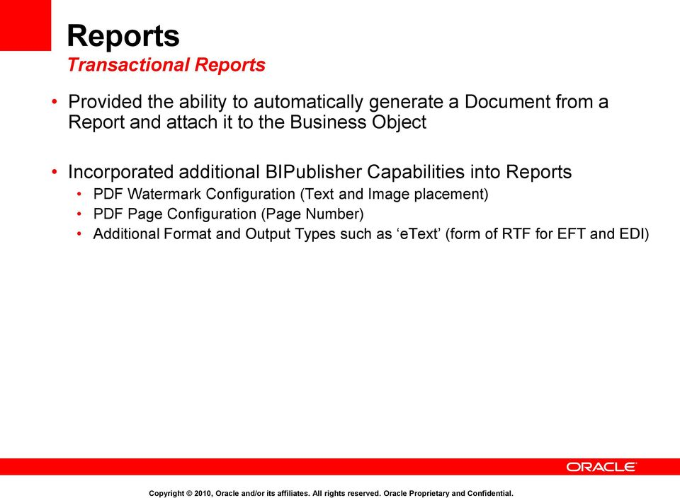 Capabilities into Reports PDF Watermark Configuration (Text and Image placement) PDF Page