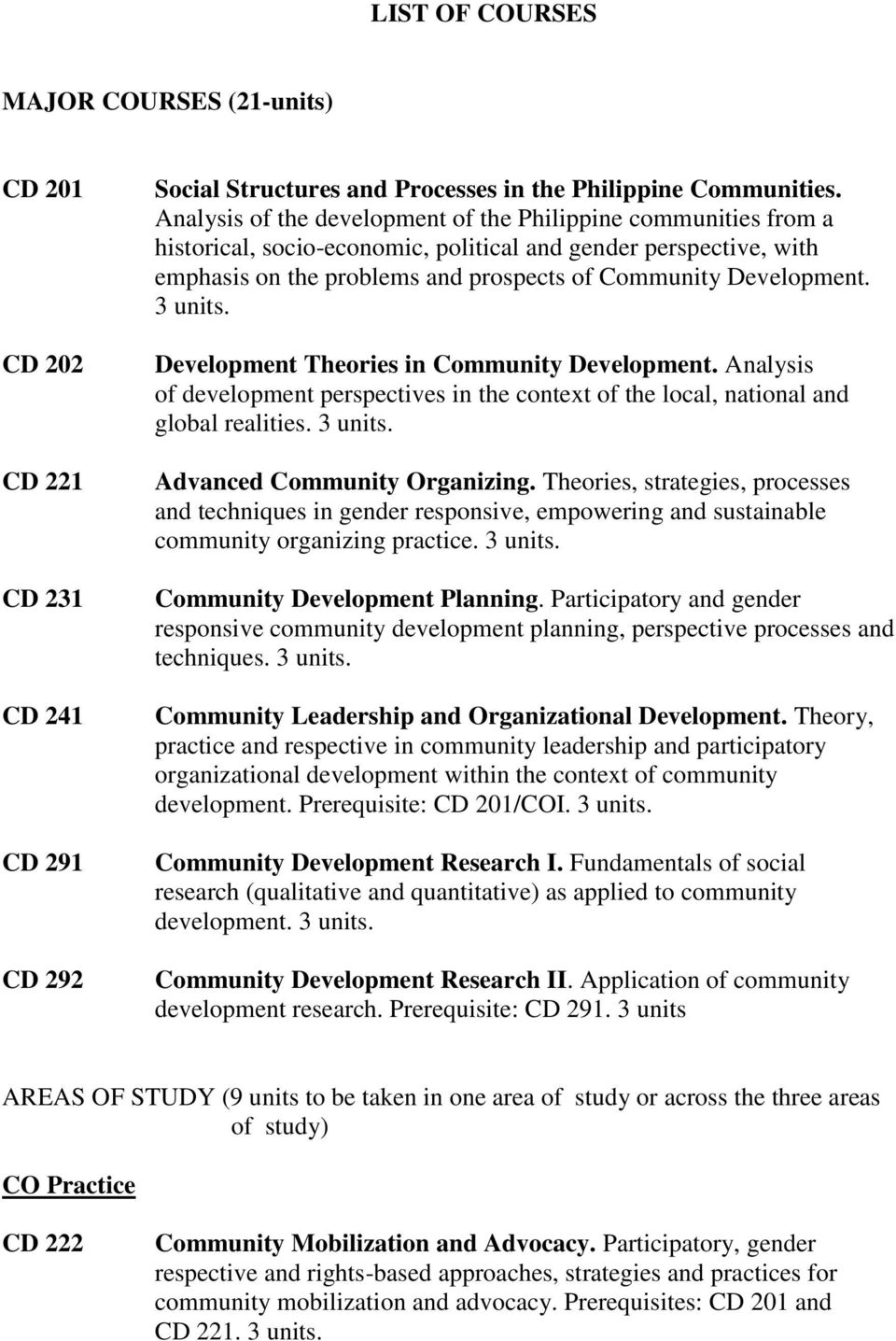 3 units. Development Theories in Community Development. Analysis of development perspectives in the context of the local, national and global realities. 3 units. Advanced Community Organizing.