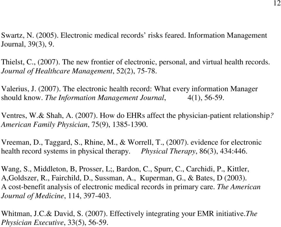 Ventres, W.& Shah, A. (2007). How do EHRs affect the physician-patient relationship? American Family Physician, 75(9), 1385-1390. Vreeman, D., Taggard, S., Rhine, M., & Worrell, T., (2007).