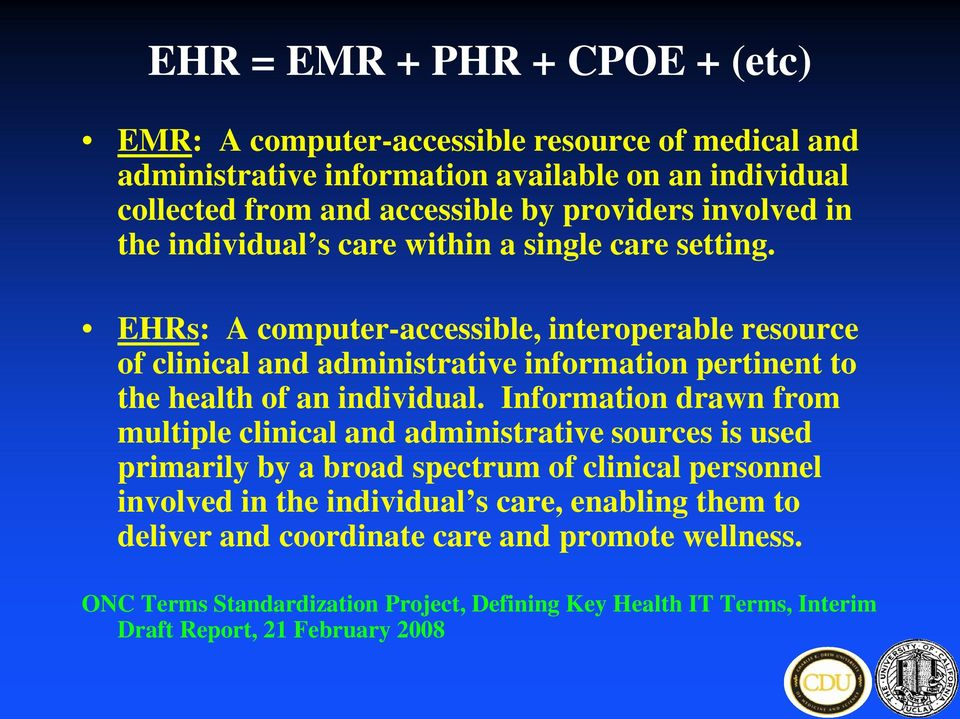 EHRs: A computer-accessible, interoperable resource of clinical and administrative information pertinent to the health of an individual.