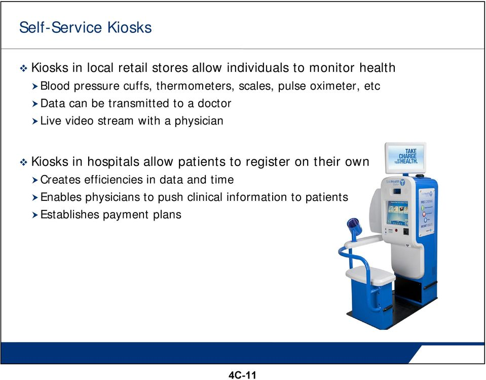with a physician Kiosks in hospitals allow patients to register on their own Creates efficiencies in