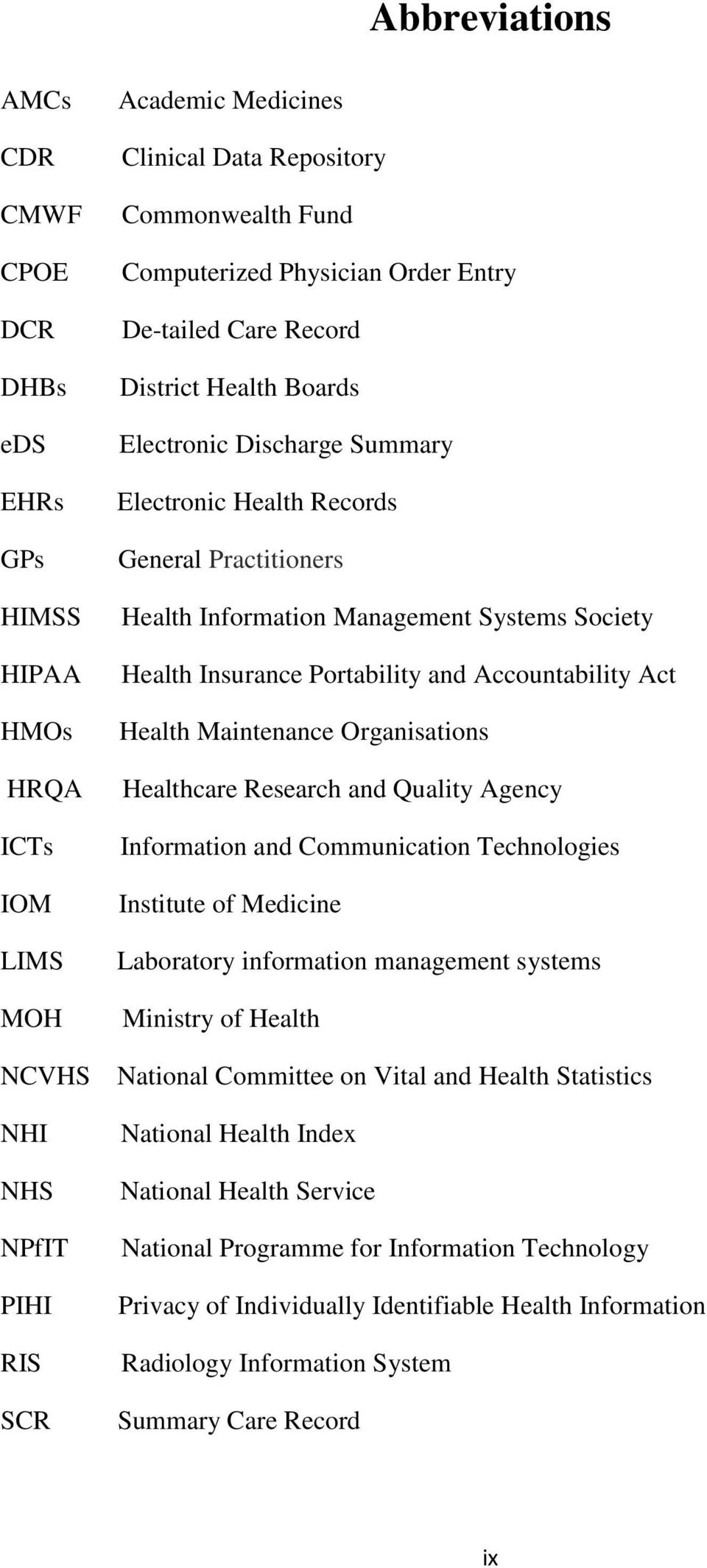and Accountability Act Health Maintenance Organisations Healthcare Research and Quality Agency Information and Communication Technologies Institute of Medicine Laboratory information management